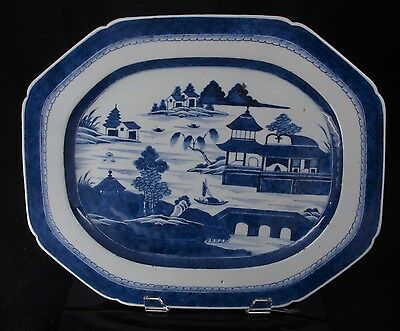 Antique 18th Century Chinese Export Blue Canton Platter  15""