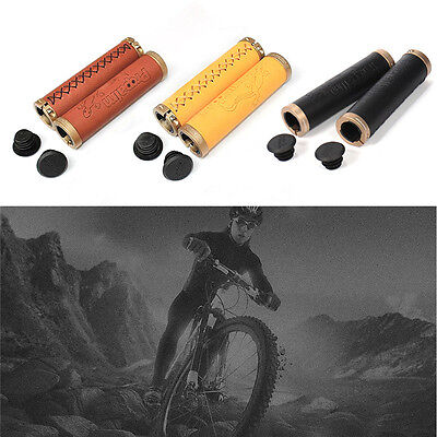 Pair Of 2Pcs Mountain Bike Bicycle Handlebar Grips Leather Cycling Handle Grips