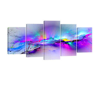 Modern Abstract Canvas Print Painting Picture Home Decor Wall Art Purple Framed