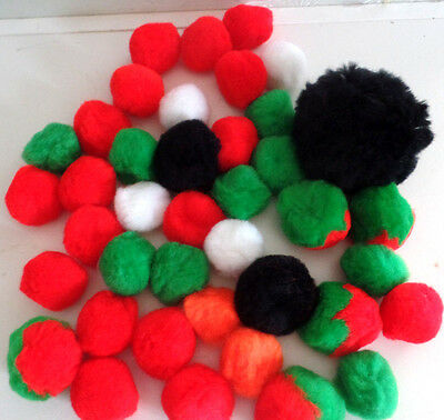 Pom Poms--Lot Of 40 Assorted Sizes And Colors