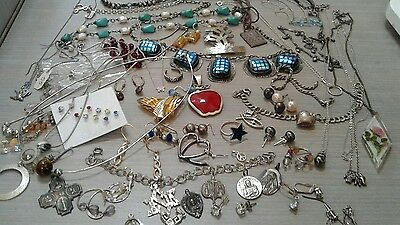 299 g sterling silver lot jewelry. pre owned condition. stones, beads, vintage+