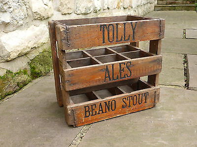 Vintage Tolly Ales Beano Stout Bottle Crate with 6 Sections Ideal for Wine/Beer