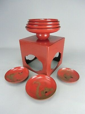 LW502 Japanese Lacquer Sake Set Stand 7 cups Vtg Shinto Wedding Wood Red Makie