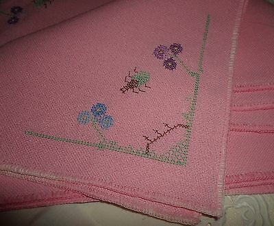 Four New-Old Deep Pink Embroidered Placemats