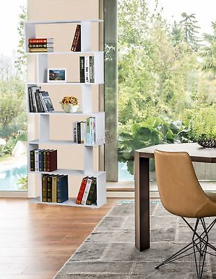FoxHunter PB 6 Tier S Shape Bookshelf Bookcase Display Unit Divider PB01 White