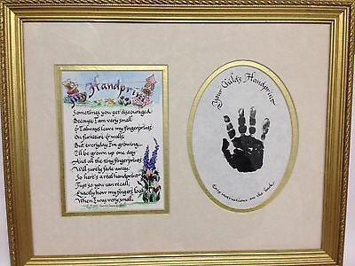 Child Hand Print Frame- Flowers,Bears,Calligraphy, Gold Leaf Frame 12.5 x 15.75""