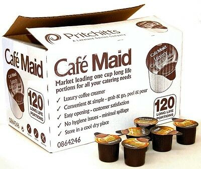 120 Cafe Maid Luxury Coffee Creamer Long Life Individual Portions 120 x 12ml