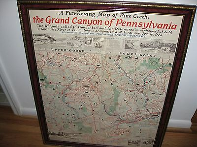 """MAP PINE CREEK """"THE GRAND CANYON OF PENNSYLVANIA EARLY 60'S 24 1/2"""" x 31"""""""