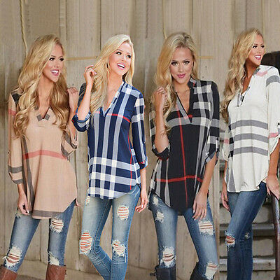UK Womens Striped V Neck Long Sleeve Ladies Casual T-Shirt Tops Blouse UK6-20