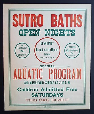 Antique Sutro Baths Streetcar Poster 14x17 San Francisco Late 1890s Early 1900s