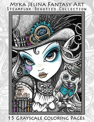 Myka Jelina Art Coloring Pages Steampunk Beauties Fairy Angel Grayscale Set4
