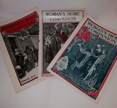 3 Antique paper full front pages magazine cover lot Woman's Home Companion 1902