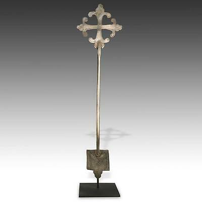 Antique Silver Alloy Coptic Cross Church Christian Ethiopia East Africa 20Th C.