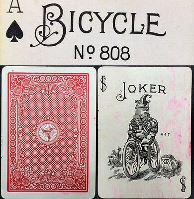 c1900 racer 1 bicycle 808 antique playing cards 52 joker uspcc poker deck picclick. Black Bedroom Furniture Sets. Home Design Ideas
