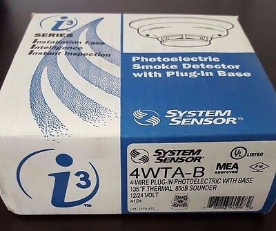 System Sensor 4WTA-B 4-Wire Photoelectric Smoke Detector.  Thermal.  Sounder.