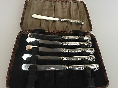 """Beautiful Cased Set Of 6 Solid Silver Handled Butter Knives (Sheff 1930) 6.25"""""""