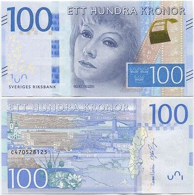 Sweden 100 Kronor 2016 (2015) UNC P-71, Greta Garbo, new series and design