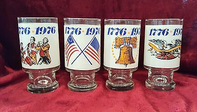 4 Vintage Burger King Bicentennial Drink Glass 1776-1976 Collectors Series Eagle