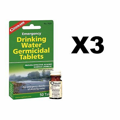 Coghlan's Emergency Drinking Water Germicidal Purify Tablets 50-Count (3-Pack)