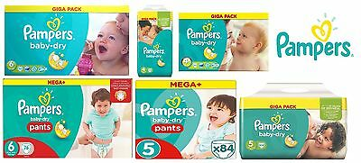 Pampers Baby-Dry Nappies Pants Size 4 5 6 Giga Pack & Mega Pack WHOLESALE Price