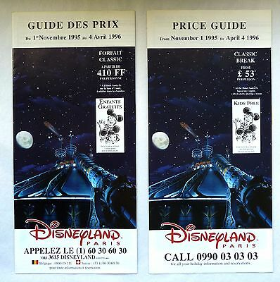 Rare Guide Des Prix Disneyland Paris 1995 / Space Mountain / Francais Et Anglais
