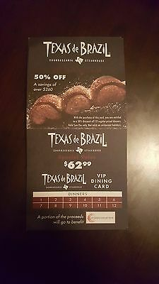 Texas De Brazil Vip Card - Save Over $260!!! 50% Off 12 Dinners!!! Great Deal!