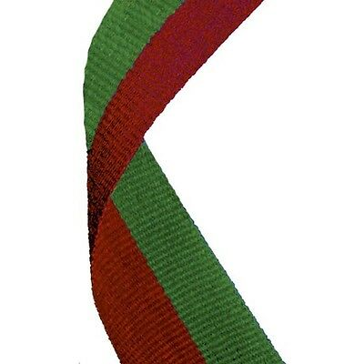 10 x Green and Red Medal Ribbons Lanyards with Gold clips 22mm wide