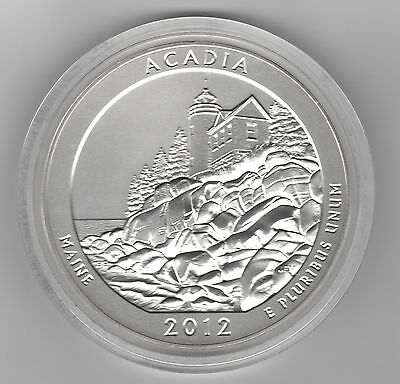 2012 AMERICA THE BEAUTIFUL 5 oz. SILVER UNC. ACADIA NATIONAL PARK  w/ OGP