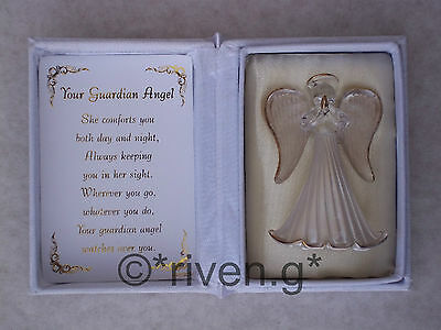 YOUR GUARDIAN ANGEL Glass FIGURE@Floral Box@Inspirational Verse@THINKING OF YOU