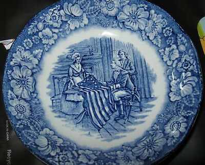 """3 LIBERTY BLUE Betsy Ross Historic Colonial Scenes Staffordshire England 5"""" bowl"""
