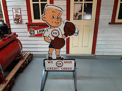Vintage SOC Standard Oil Company Wooden Credit Card Advertisement Sign w/stand
