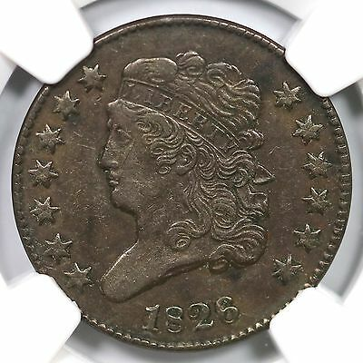 1826 C-2 R-3+ NGC XF 45 Classic Head Half Cent Coin 1/2c