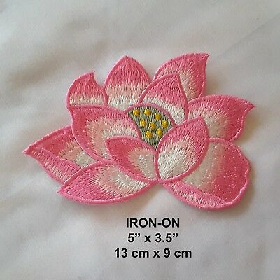 """Pink Peony Flower Embroidered Iron-on Emblem  5""""/13cm Floral Patch Applique"""
