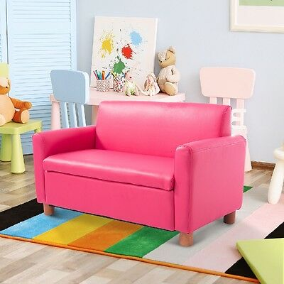 Kids Sofa Seat Double Couch Bed Room Play Childrens Girls Toddler Pink Chair 3+