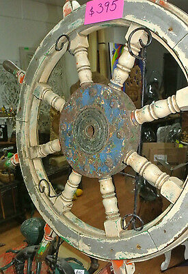 "ships STEERING WHEEL Large original old vintage paint shabby 34"" strong timber"