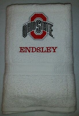 OHIO STATE BUCKEYES  EMBROIDERED BATH OR GYM TOWEL PERSONALIZE CUSTOM