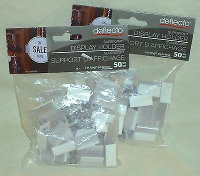 "New! Lot of 2 ~ 50 Piece Deflecto 200002RT Supergrip 1"" Display Sign Holders"
