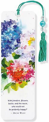 Hydrangea Flower Beaded Bookmark Inspirational Quote Fun Cheap Gift Reading Book