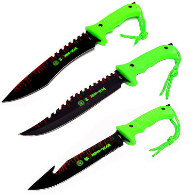 """Lot of 3pc Zombie-War 13"""" Stainless Steel Hunting Knives with Neon Green Handle"""