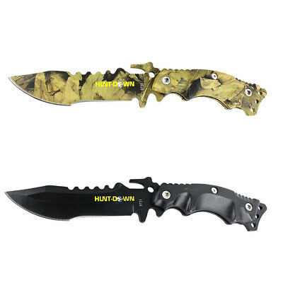 """2pc Set Hunt-Down 9"""" Camo & Black Stainless Steel Hunting Knives With Nylon Shea"""