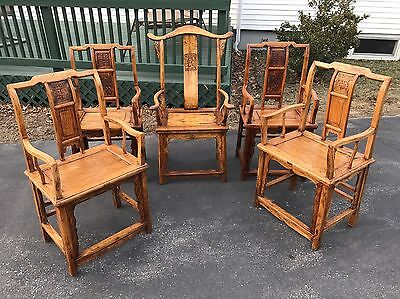 Set of 5 Antique Chinese Chairs-Qing Dynasty