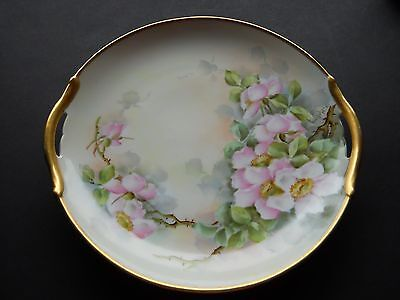 Vintage Hand Painted Dogwood Floral China Plate With Gold Trim Signed V. Kelley