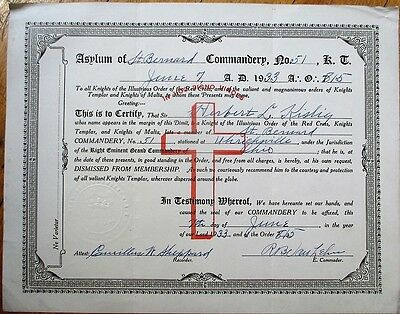 Knights Templar & Malta 1933 Order of the Red Cross Certificate-Uhrichsville, OH
