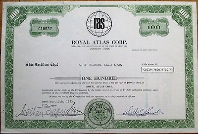 'Royal Atlas Corporation' 1973 Stock Certificate w/Globe Vignette