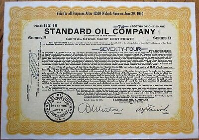 'Standard Oil Company' 1939 Stock Scrip Certificate - New Jersey NJ