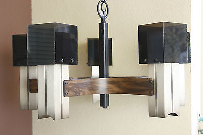 Mid Century Modern 5 Lamp Cube Pendant Fixture Metal with Smoked Lucite Shades