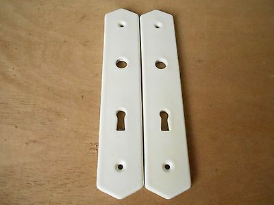 Pair of French Vintage Beige PORCELAIN door push plates LIMOGES