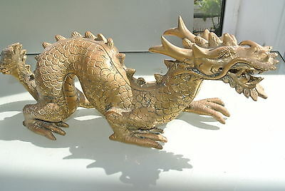 """used large DRAGON solid BRASS hollow fat statue 14"""" display vintage style aged"""