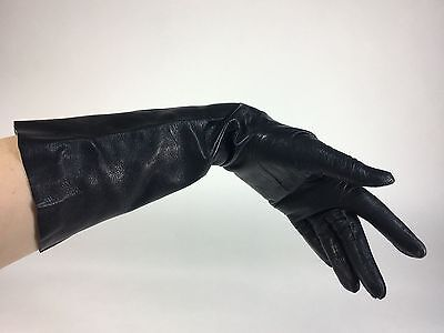 Vintage late 1950's DOMINATRIX black leather gloves below elbow length size 6.5
