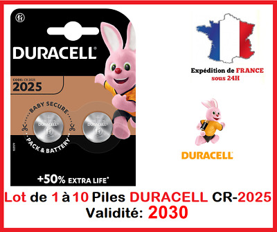 Lot de 1 à 10 Pile CR-2025 / DL-2025 DURACELL bouton Lithium 3V DLC 2026